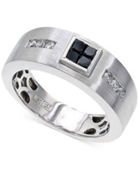 Effy Collection Effy Men's Black And White Diamond Ring In 14K White Gold 1 2 Ct. T.W.