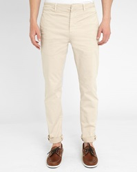 M.Studio Beige Dimitri Cotton Fitted Chinos