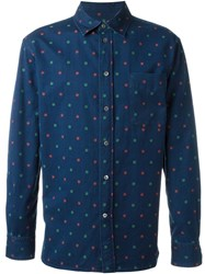 Maison Kitsune Floral Embroidered Shirt Blue