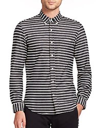 Timo Weiland Pique Striped Cotton Sportshirt Black White