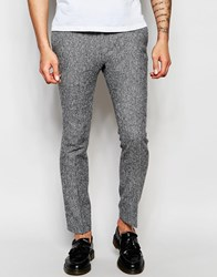 Noak White Herringbone Trousers In Super Skinny Fit White