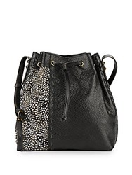 Dannijo Thalia Leather And Feather Bucket Bag Nero