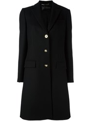 Versace Single Breasted Overcoat Black