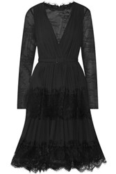 Mikael Aghal Lace And Plisse Crepe De Chine Dress Black