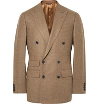 Thom Sweeney Sand Slim Fit Double Breasted Wool Blazer Sand