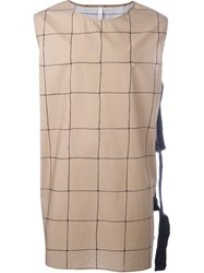 Damir Doma Grid Print Tie Side Tank Top Nude And Neutrals