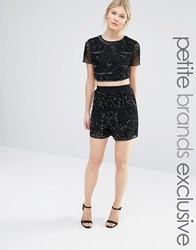 Maya Petite All Over Tonal Sequin Shorts Black