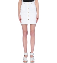 Msgm Gonna Button Down Denim Skirt White