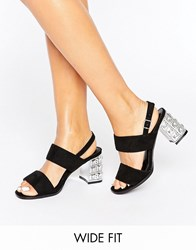 New Look Wide Fit Gem Block Heel Black