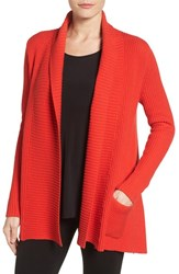Chaus Women's Two Pocket Cotton Blend Cardigan Carmine Red