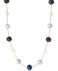 Effy Collection Effy Multi Color Cultured Freshwater Pearl Station Necklace In 14K Gold 6Mm