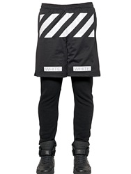 Off White Stripe Printed Techno Mesh Shorts Black