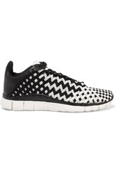 Nike Free Inneva Leather Trimmed Woven Sneakers Black