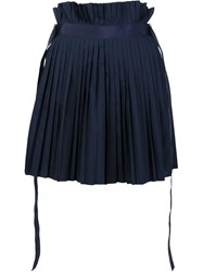 Sacai Pleated A Line Skirt Blue