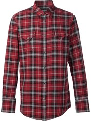 Dsquared2 Casual Checked Shirt Pink And Purple