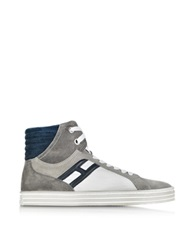 Hogan Rebel Color Block Suede Basket High Top Men's Sneaker Gray