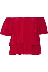Chelsea Flower Marcelle Ruffled Off The Shoulder Silk Crepe Top Red