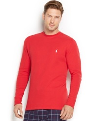 Polo Ralph Lauren Men's Thermal Crew Neck Shirt Graphic Red