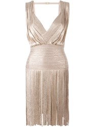 Herve Leger Herve Leger Metallic Fringed Mini Dress Pink And Purple