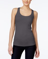 Planet Gold Juniors' Racerback Tank Top Charcoal Heather