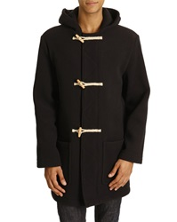 Armor Lux Classic Duffle Coat In Navy Blue