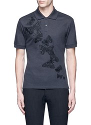 Alexander Mcqueen Butterfly Embroidered Polo Shirt Grey