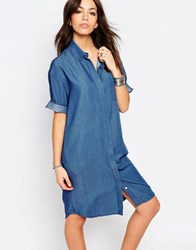 Only Long Denim Shirt Dress Light Blue Denim