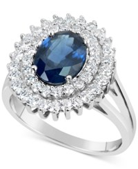 Macy's Sapphire 2 1 5 Ct. T.W. And Diamond 3 4 Ct. T.W. Ring In 14K White Gold Blue