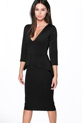 Boohoo Plunge Peplum Midi Dress Black