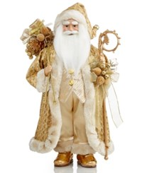 Holiday Lane 18 Ivory And Gold Santa With Bag Of Gifts And Staff Only At Macy's 0