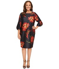 Christin Michaels Plus Size Jeane Floral Print 3 4 Sleeve Dress Black Pink Women's Dress