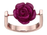 French Connection Rose On U Shank Ring Rose Gold Burgundy Ring Multi