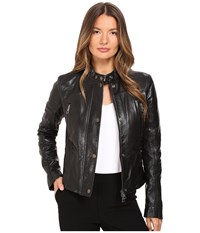 Just Cavalli Leather Moto With Stitch Detail Black Women's Coat
