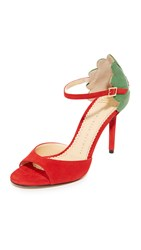 Charlotte Olympia Marge Leaf Sandals Real Red Verdant Green