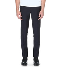 Mcq By Alexander Mcqueen Faux Leather Trim Wool Blend Trousers Midnight Blue