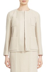 Lafayette 148 New York Women's 'Holland' Faux Leather Trim Collarless Jacket