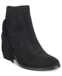 Kenneth Cole Reaction Rotini Fringe Ankle Booties Women's Shoes Black