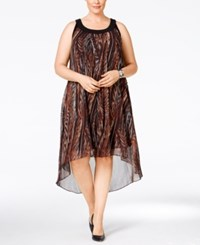 Si Fashions Sl Plus Size Animal Print High Low Dress Brown Multi