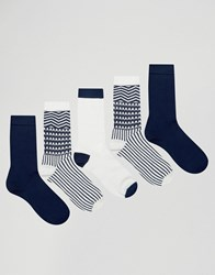 Asos Socks With Aztec Design 5 Pack Navy