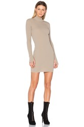 Yeezy Long Sleeve High Neck Midi Dress Beige