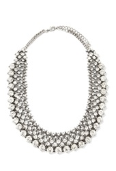Forever 21 Faux Gemstone Statement Necklace B.Silver Clear