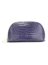 Smythson Crocodile Embossed Make Up Bag Blue