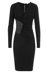 Vionnet Virgin Wool Dress With Leather Black