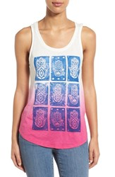 Women's Lucky Brand Ombre Hamsa Hand Graphic Tank Whisper White
