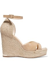Paloma Barcelo Patent Leather Espadrille Wedge Sandals Nude