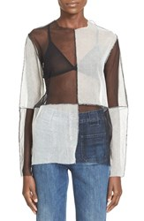 Women's Aries 'Patchwork' Long Sleeve Tulle And Mesh Top