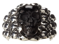 King Baby Studio Rainbow Obsidian Carved Skull In Silver Skull Frame