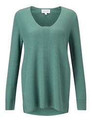 Jigsaw Slim Rib V Neck Jumper Grey