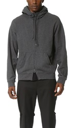 3.1 Phillip Lim Zip Hoodie With Leather Cording Charcoal Melange