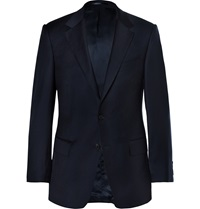 Gieves And Hawkes Navy Slim Fit Wool Twill Blazer Blue